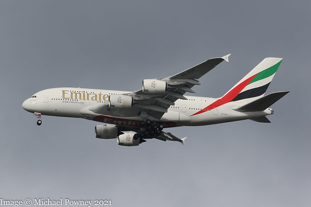 A6-EVK - 2018 build Airbus A380-842, on approach to Runway 23R at Manchester