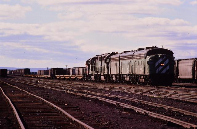 Burlington Northern F-units at Superior Wis 1977