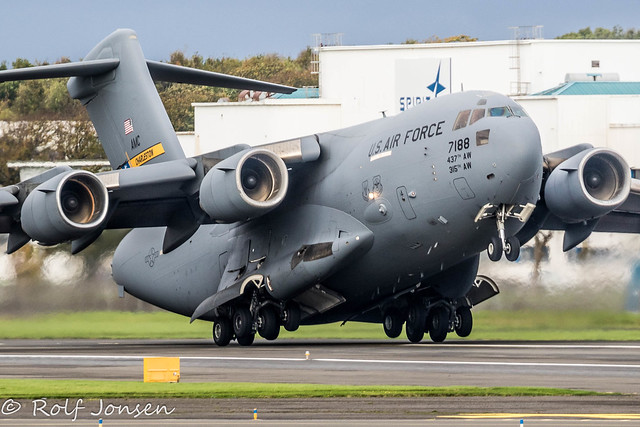 07-7188 Boeing C-17 Globemaster III United States Airforce Prestwick airport EGPK 23.10-21