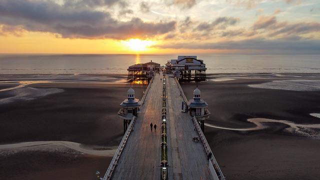 North pier, Blackpool , uk, at sunset