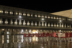 Piazza San Marco at a rainy evening