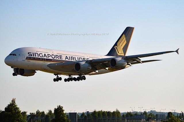 Singapore Airlines 9V-SKT Airbus A380-841 cn/092 std at ASP 26 Apr 2020 @ EGLL / LHR 27-05-2018