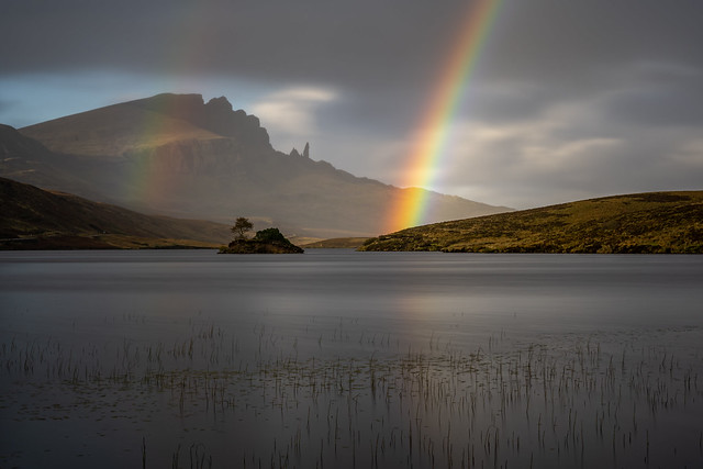 Double rainbow at the old man of store, the Isle of Skye rainbow