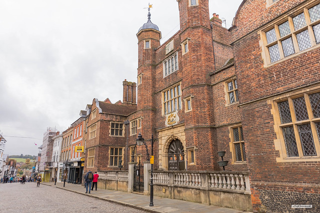 Built by George Abbot in 1619, as a Hospital, this handsome building became an Almshouse for poorer people to live in for over 400 years, Guildford High Street, Surrey, England.