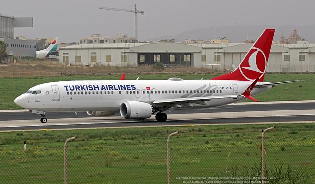 TC-LCA LMML 24-10-2021 Turkish Airlines Boeing 737-8 MAX CN 60032