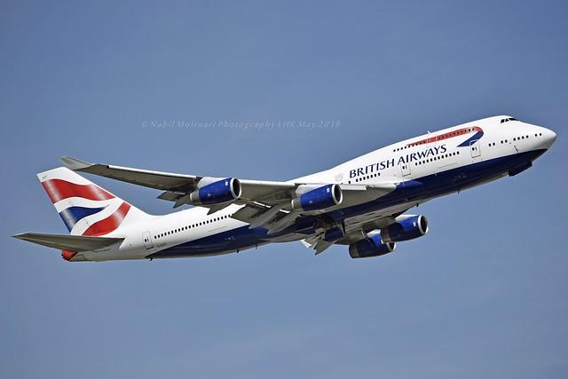 British Airways G-CIVT Boeing 747-436 cn/25821-1149 wfu 28 Feb 2020 std at TEV 3 Apr 2020 @ EGLL / LHR 14-05-2019