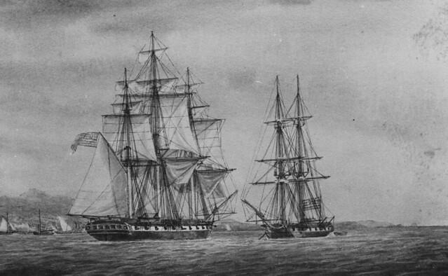 Sloop USS PEACOCK Capturing British Brig NAUTILUS in the Straits of Sunda, June 1815
