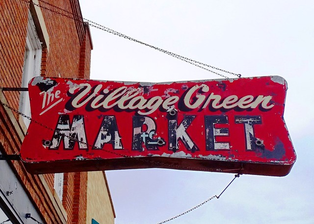 MI, Pentwater-U.S. 31(Old) The Village Green Market Ghost Neon Sign