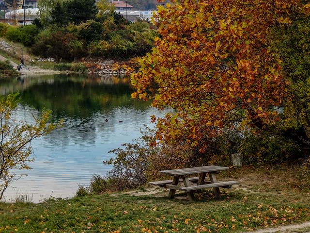The picnic table in Autumn season.