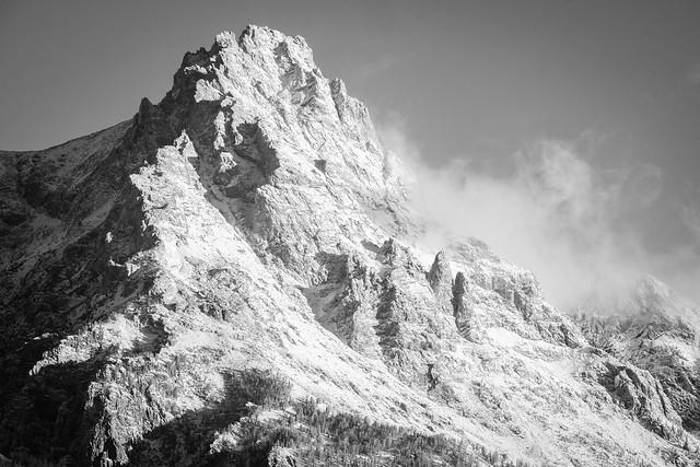 First snow on Teewinot Mountain, Grand Teton National Park. September, 2021.