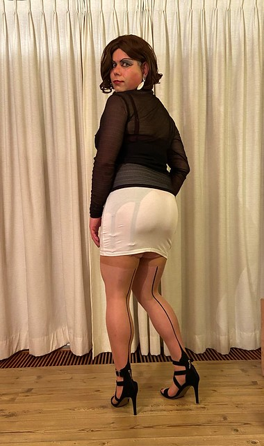 black top and white skirt again