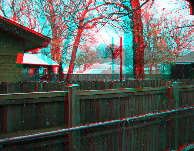 FALLING SNOW IN 3D RED CYAN ANAGLYPH