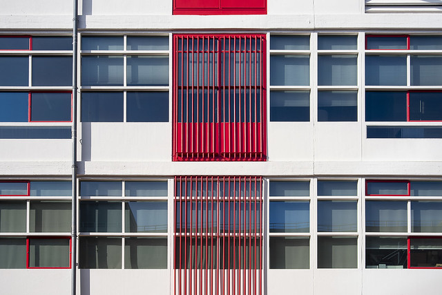 Facade with red