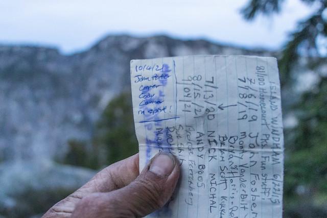 Signing register on Saint Agnes Ridge