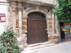 Time  worn door, House of the Baroness Benasque, Calle  Grande, Calahorra, La  Rioja, Spain