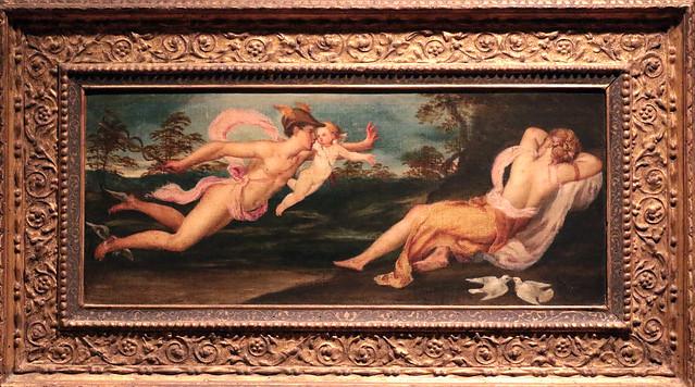 Lambert Sustris (Amsterdam, 1515-1520 circa – Padova?, 1584 circa) - Mercurio con Amorino vola verso Venere dormiente - Ca' Rezzonico, Venezia