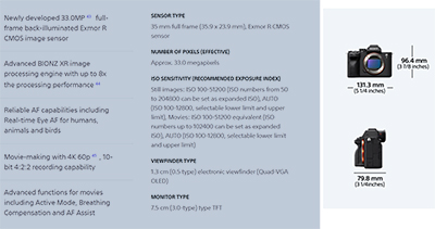 Key specifications of the Sony Alpha 7 IV. Full specs here.