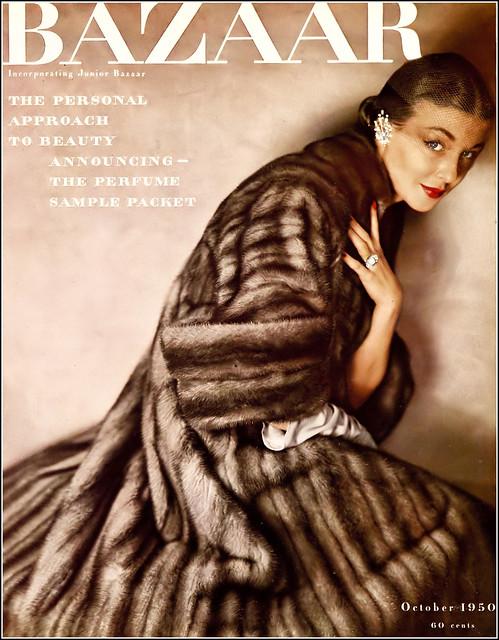 Liz Pringle in EMBA Aleutian mink coat by Christian Dior-New York, earrings by Michael Paul, Kodachrome cover by Louise Dahl-Wolfe, Harper's Bazaar, October 1950