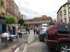 Plaza de Raso  with market at far end, Calahorra, La  Rioja, Spain