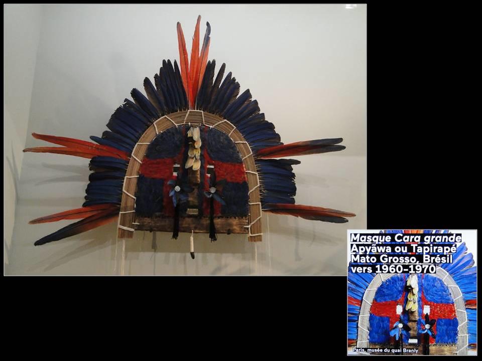 Expo Carambolages. Grand Palais. Mars-Juillet 2016. Masque Cara grande. Apyäwa ou Tapirapé. Mato Grosso. Brésil 1960-70