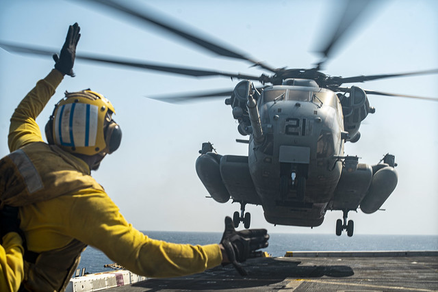 USS Portland (LPD 27) conducts flight operations in the Red Sea during exercise Indigo Defender 21.