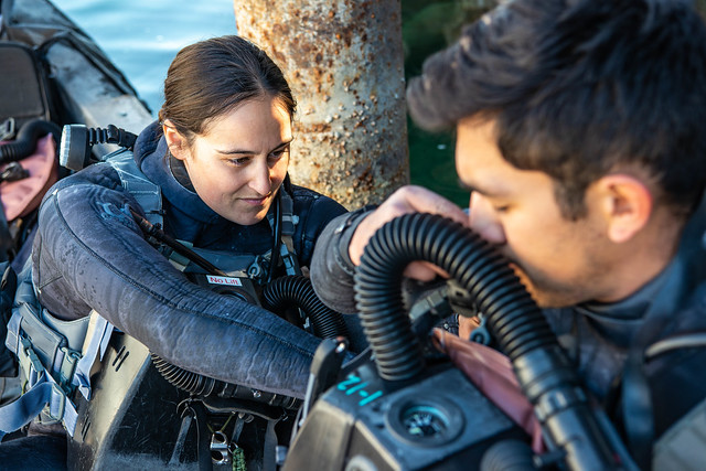 U.S. Navy divers prepare for a high-altitude dive in Northern California.
