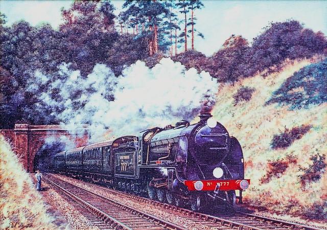 TRAIN S SOUTHERN RAILWAY N15 'KING ARTHUR' CLASS 4-6-0 STEAM LOCOMOTIVE No 777 'SIR LAMIEL' WAS BUILT BY THE NORTH BRITISH LOCOMOTIVE CO 1925  - ART BY PAUL THURSTON