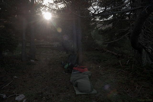 Lever de soleil sur le bivouac