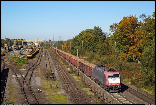 LTE 185 593 met bietentrein, Duisburg Entenfang, 24 oktober 2021