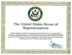 KAILASA is pleased to announce yet another Special Congressional Recognition from the United States House of Representat...