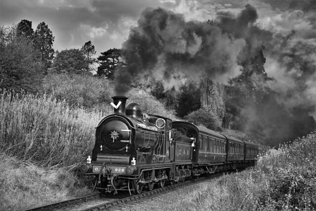 McIntosh Caledonian Railway 0-6-0 no. 828 powers through Oldbury Cutting on the morning of 3rd October 2011