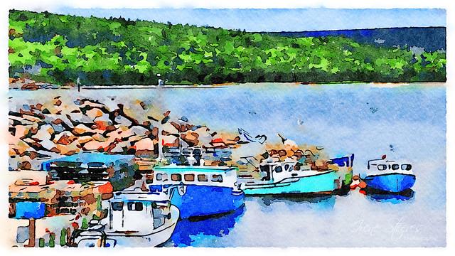 Lobster Boats in Neil's Harbour, Nova Scotia, Canada