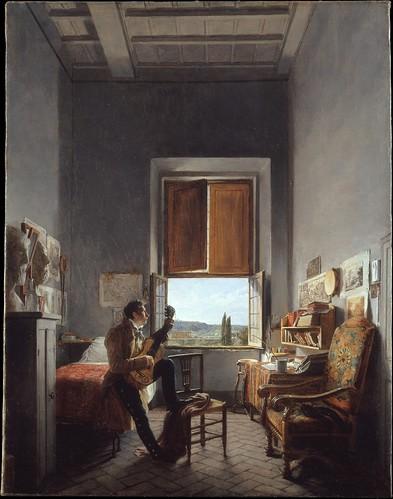 Jean Alaux (1786–1864), Léon Pallière (1787–1820) in His Room at the Villa Medici, Rome, 1817
