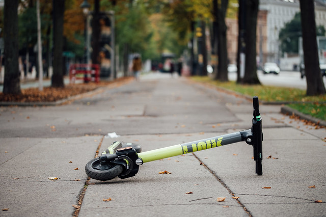 Tossed over rental electric scooter