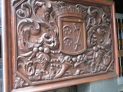 Carved  wooden panel, Calahorra  Coat of Arms,  Calle  Grande, Calahorra, La  Rioja,  Spain