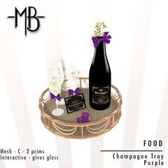Champagne tray purple w