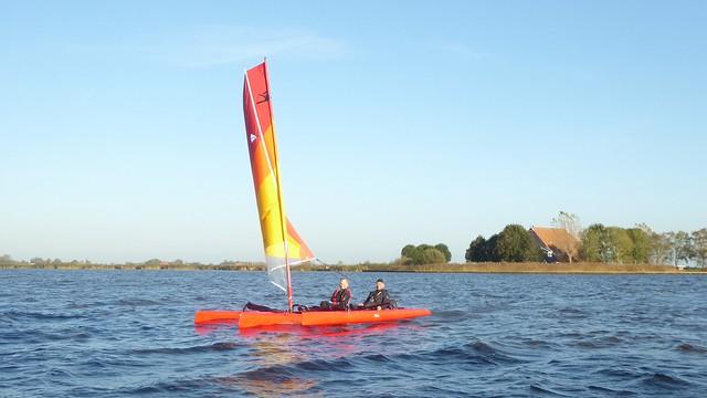 Special sailing boat, trimaran Yntemasloot, Friesland