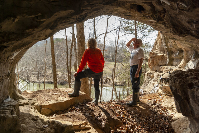 Caney Fork Crawl Cave twilight, Anne Elmore and Bill Walter, White County, Tennessee