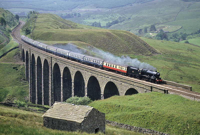48151 crosses Arten Gill Viaduct with its first run over the S&C following restoration, on 25th June 1988.