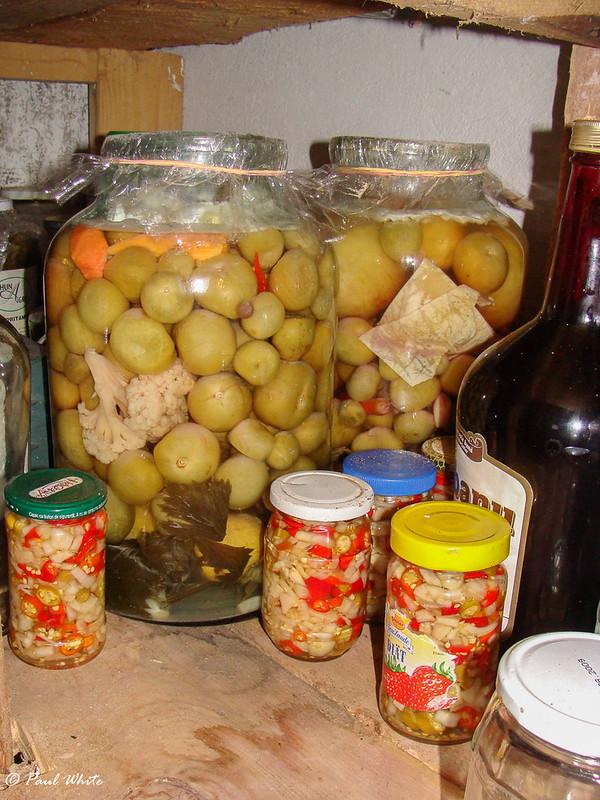 Storing pickles in cool cellar