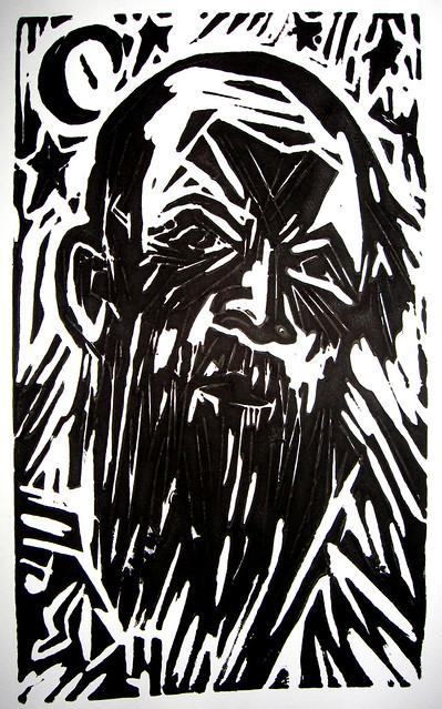 The Hermit.(woodcut).