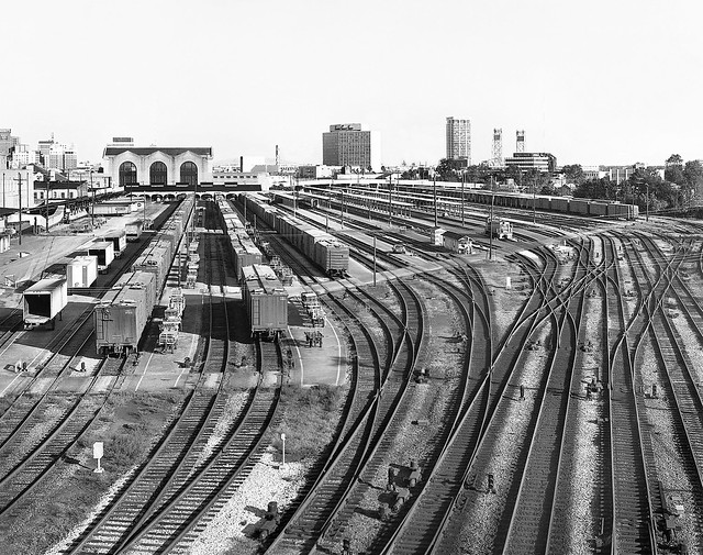 Jacksonville Terminal platform tracks are seen in an elevated view taken from a highway bridge, 1973 - 2