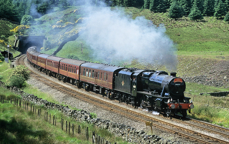 48151 emerges from Blea Moor Tunnel with the northbound 'Anniversary Express'. 12th July 1996.