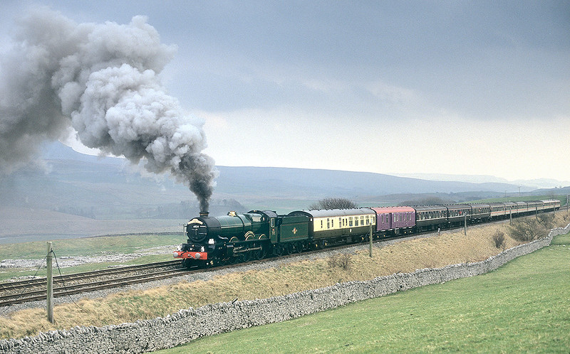 6024 'King Edward I' was making heavy weather of the climb to Blea Moor with a Cumbrian Mountain Express on the 28th March 1998. It had stopped for at least two 'blow-ups' prior to this shot at Selside and we were beginning to wonder if it was going to make it. In the event it did, but not without further 'blow-ups'.