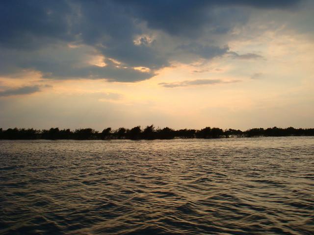 Sunset over the Razelm Lake