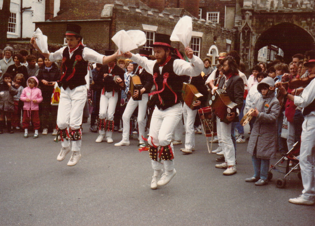 Oyster Morris dancing in Canterbury Cathedral precincts circa 1985
