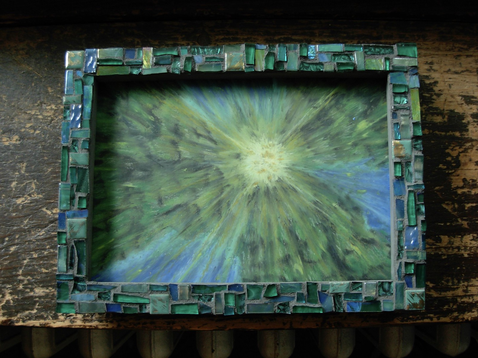 Sun Trees: Oil Pastel by Suzanne Halstead, Mosaic Frame by Margaret Almon