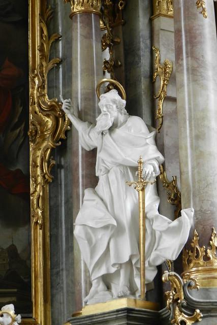 escultura interior Iglesia de San Pedro y San Pablo Oberammergau Baviera Alemania 12