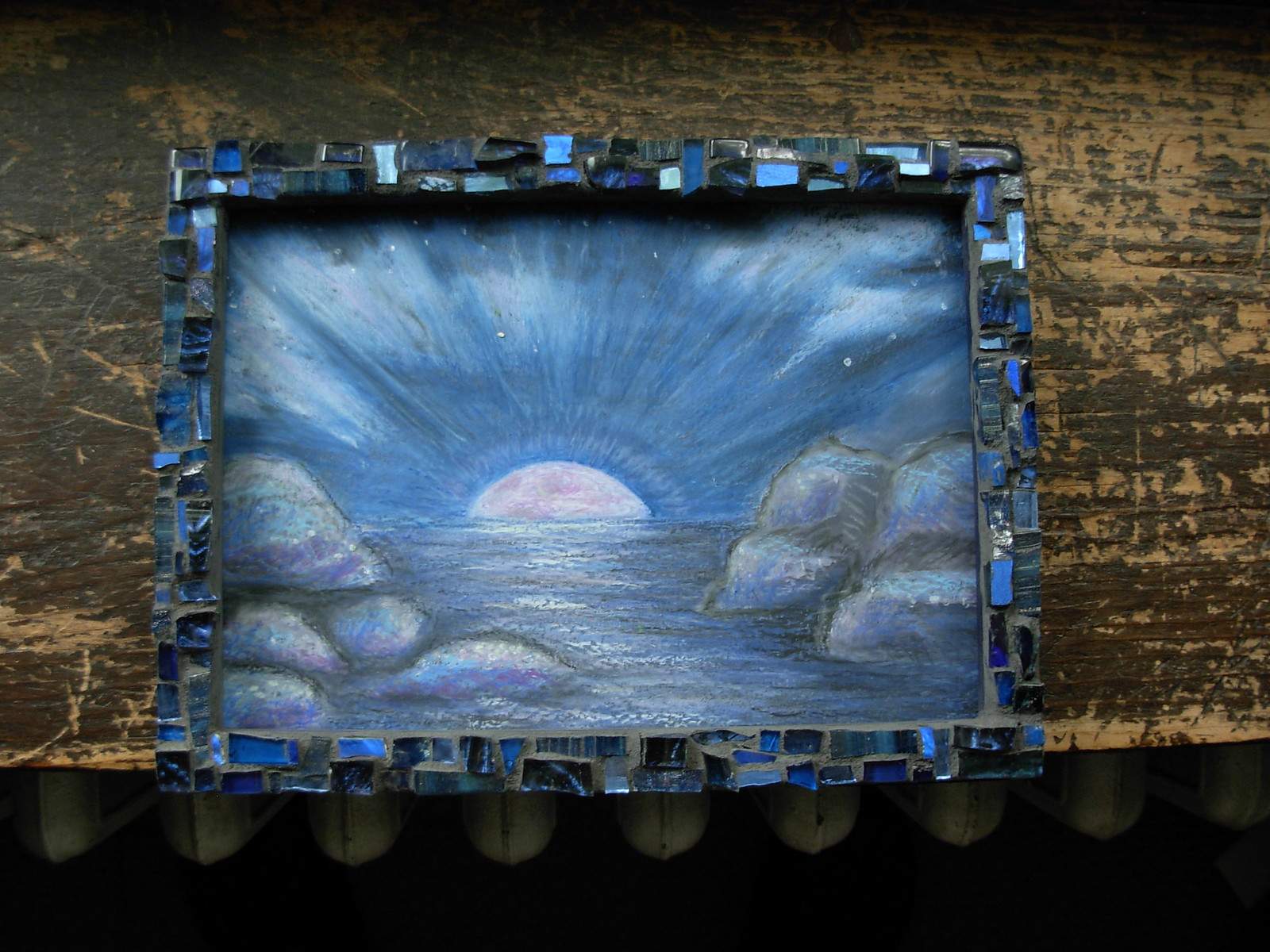 Moon Glow Oil Pastel by Suzanne Halstead and Mosaic Frame by Margaret Almon