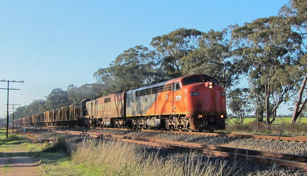 S302+GM36+T386 lead the Iluka mineral sands train Eastbound near Stawell by Adam Serena